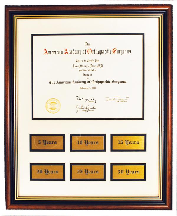 Certificate of Membership and Anniversary Frame